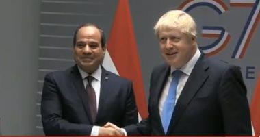 الرئيس السيسى يلتقى رئيس وزراء بريطانيا على هامش قمة السبع بفرنسا