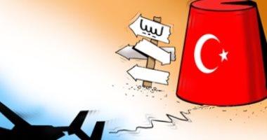 كاريكاتير الصحف الإماراتية .. تركيا تحاول فرض نفوذها على ليبيا بدعم الميليشيات الإرهابية