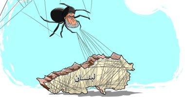 كاريكاتير الصحف السعودية.. حزب الله عنكبوت ينسج خيوطه حول لبنان