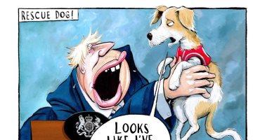 """""""كلب"""" بوريس جونسون يصرف الانتباه عن أزمات """"بريكست"""" فى كاريكاتير """"التايمز"""""""
