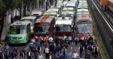 صور.. شلل فى شوارع المكسيك بسبب إضراب سائقى أتوبيسات النقل العام