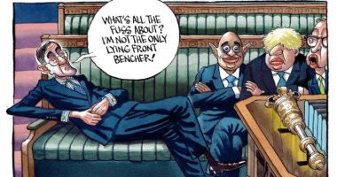 كاريكاتير التايمز البريطانية يسخر من رئيس مجلس العموم وحكومة جونسون