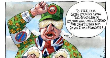 """كاريكاتير """"التايمز"""" ينتقد إصرار بوريس جونسون على الخروج بدون اتفاق"""
