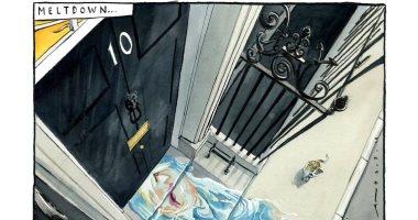 """انهيار جونسون وخروجه من داونينج ستريت بسبب بريكست فى كاريكاتير """"التايمز"""""""
