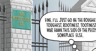 بولتون كاوبوى مطرود من البيت الأبيض.. كاريكاتير USA Today