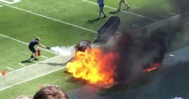 فيديو.. حريق ضخم فى ملعب خلال مباراة كرة قدم أمريكية