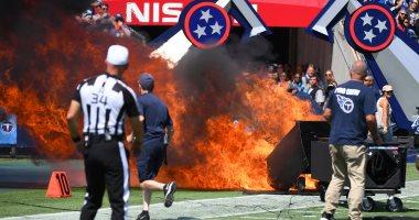حريق ضخم خلال مباراة فى دورى كرة القدم الأمريكية