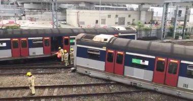 """صور.. خروج قطار عن القضبان فى """"هونج كونج"""""""