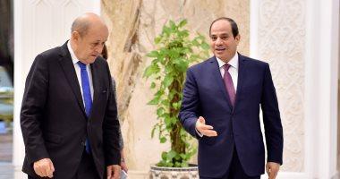 السيسي يبحث مع وزير خارجية فرنسا التطورات بعدد من الملفات الإقليمية