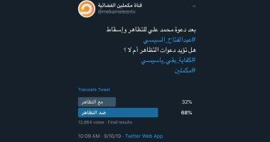 فضحية إعلام الإخوان.. مكملين تجرى استطلاع رأى عن التظاهر وتحذفه بعد رفض 70%