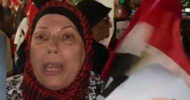 رحبت سيدة مصرية بقدوم الرئيس السيسى، لمقر إقامته بنيويورك