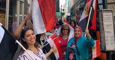 تجمع المصريين امام مقر اقامه الرئيس
