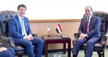السيسي يلتقى رئيس وزراء إيطاليا فى مقر الأمم المتحدة لبحث تعزيز التعاون