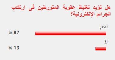 %87 من القراء يؤيدون تغليظ عقوبة المتورطين فى ارتكاب الجرائم الإلكترونية