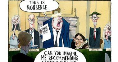 """كاريكاتير """"التايمز"""" يسخر من موقف بوريس جونسون من فضيحة """"جنيفر آركورى"""""""