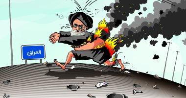 كاريكاتير الصحف السعودية.. إيران تحول أزماتها الداخلية لحرق العراق