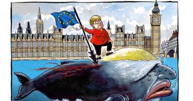 """ميركل توجه ضربة لمساعى جونسون الخروج من الاتحاد الأوروبى بكاريكاتير """"التايمز"""""""