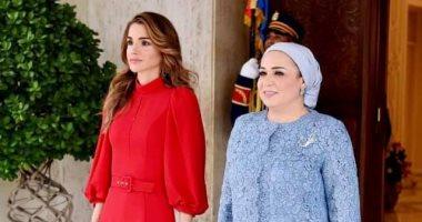 قرينة الرئيس السيسى: سعدت اليوم باستقبال الملكة رانيا في بلدها الثانى مصر.. صور