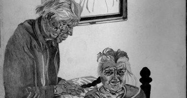 """""""على"""" يهوى رسم الوجوه باللونين الأبيض و الأسود ..صور"""