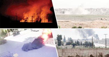 استمرار غارات العدوان التركي والفصائل الموالية على رأس العين