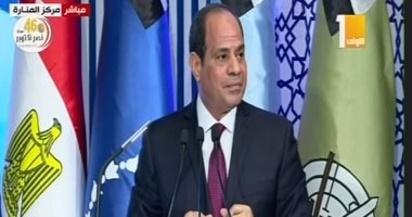 """السيسي: """"مهجرناش حد فى سيناء.. ومش هنسمح يكون فيه شوكة بظهر 100 مليون"""""""