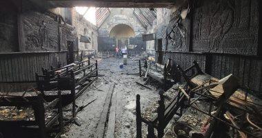 فيديو وصور.. أثار حريق كنيسة مارجرجس فى حلوان
