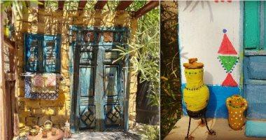 """""""الفن بيتكلم مصرى"""".. عبير توثق جمال البيوت النوبية والريفية بفن المصغرات"""