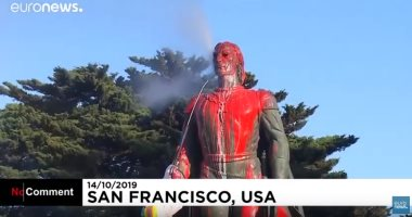 شاهد.. الأمريكيون يلطخون تمثال كريستوفر كولومبوس فى عيده السنوى