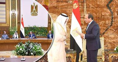 """شاهد.. لقاء السيسى برئيس وزراء الكويت.. وحديثه عن """"مفاوضات سد النهضة"""""""