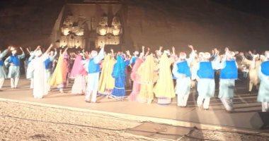 صور.. عرض مميز للصوت والضوء بساحة معبدى أبو سمبل ليلة تعامد الشمس