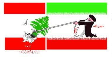 كاريكاتير الصحف السعودية.. نصر الله يحاول اقتلاع لبنان من جذورها