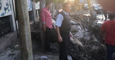 كسر مفاجئ فى ماسورة مياه رئيسية وسط الإسكندرية.. والحى: جارى الإصلاح