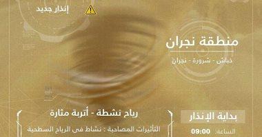الأرصاد السعودية تحذر من رياح مثيرة للأتربة على منطقة نجران