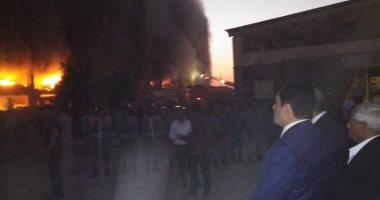 إصابة 4 بحالات اختناق فى حريق مصنع الدراجات البخارية بقليوب