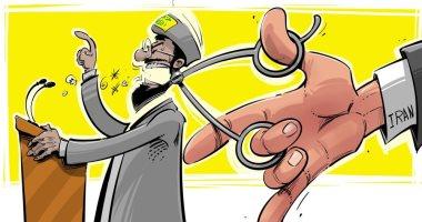 كاريكاتير سعودى.. إيران المحرك القوى لخُطب حسن نصر الله فى لبنان