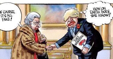 """ملكة بريطانيا تسخر من زيف خطة حزب جونسون فى كاريكاتير """"تايمز"""""""