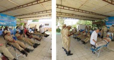 شرطة النقل تنظم حملة للتبرع بالدم بمشاركة الضباط والجنود