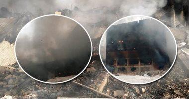 """شاهد.. لحظة انهيار المبنى الثالث بمصنع """"أبو حوا"""" بعد احتراقه"""