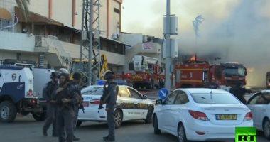 حريق هائل داخل مصنع فى إسرائيل بعد استهدافه بصواريخ المقاومة الفلسطينية