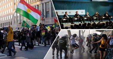 """صور.. العالم هذا الصباح.. عشرات المؤيدين للأكراد يتظاهرون أمام البيت الأبيض احتجاجا على زيارة أردوغان.. رؤساء مجموعة """"البريكس"""" يواصلون اجتماعاتهم فى البرازيل.. تسارع حدة التظاهرات فى تشيلى"""