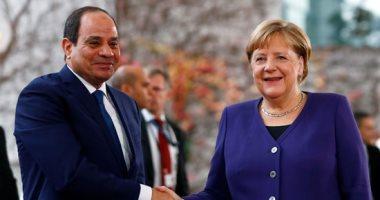 """الرئيس السيسى يلتقى """"ميركل"""" ويشيد بالطفرة فى علاقات التعاون بين مصر وألمانيا"""