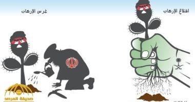 كاريكاتير صحيفة عكاظ.. السعودية تقلع الإرهاب الإيرانى من جذوره