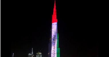 شاهد.. برج خليفة يتزين بألوان علم الإمارات فى اليوم الوطنى الـ 48