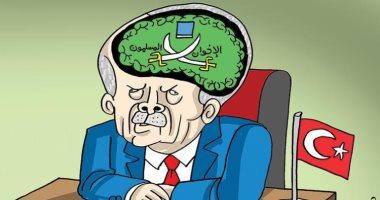 كاريكاتير صحيفة إماراتية.. جماعة الإخوان المسلمين تسيطر على تفكير أردوغان