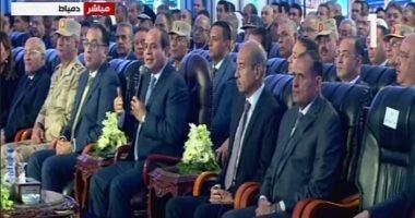 الرئيس السيسى من دمياط: أنفقنا 615 مليار جنيه لتحسين خدمة الكهرباء