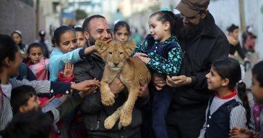 """""""شبل أسد وببغاء"""" للترفيه عن أطفال مخيم رفح للاجئين فى جنوب قطاع غزة"""