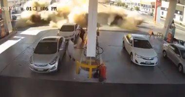 كاميرا مراقبة توثق وقوع انفجار ضخم بمحطة وقود فى المدينة المنورة