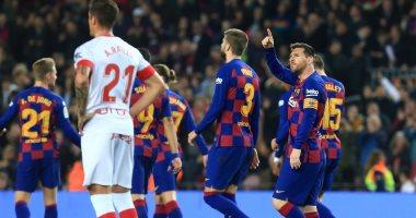 """برشلونة ضد مايوركا.. ميسي يسجل الهاتريك وينفرد بصدارة هدافي الليجا """"فيديو"""""""