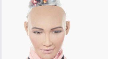 الروبوت صوفيا تتحدث للحضور خلال فعاليات منتدى شباب العالم بشرم الشيخ