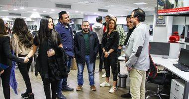 """مريم عامر منيب وفريق عمل ديو """"عامل إيه في حياتك"""" فى صالة تحرير اليوم السابع"""